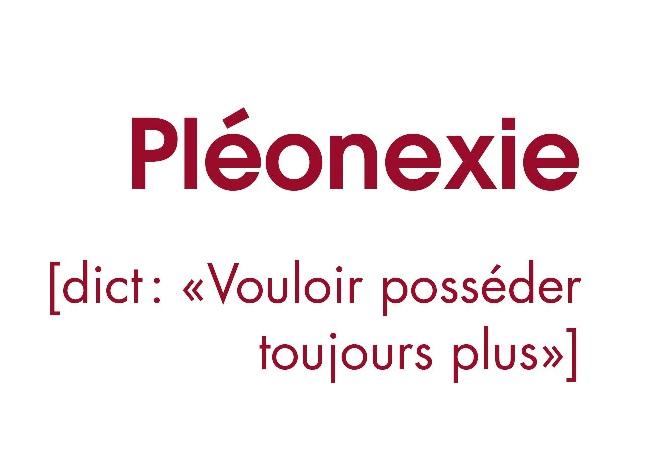 """Couverture du livre """"Pléonexie"""""""