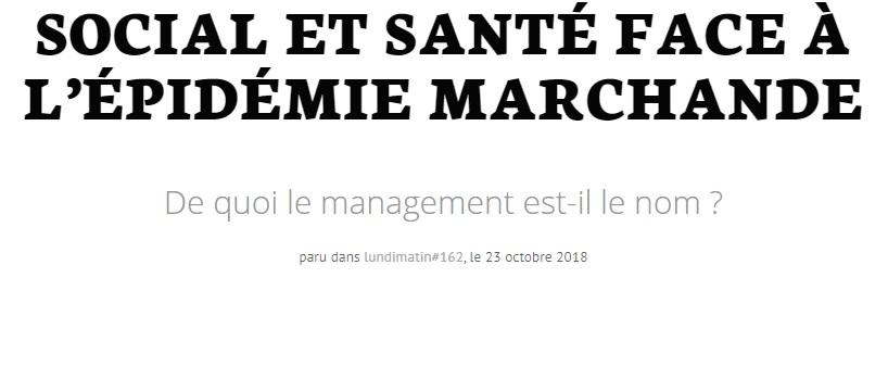 """Couverture de l'article """"Social et santé face à l'épidémie marchande"""""""