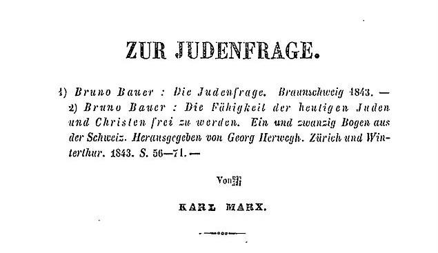 """Première page de l'édition originale de """"A propos de La Question Juive"""""""